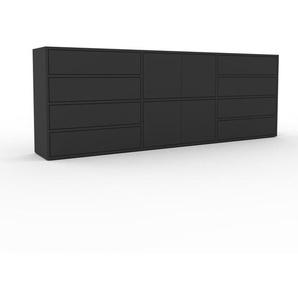 Kommode Anthrazit - Lowboard: Schubladen in Anthrazit & Türen in Anthrazit - Hochwertige Materialien - 226 x 80 x 35 cm, konfigurierbar