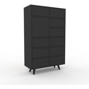 Kommode Anthrazit - Lowboard: Schubladen in Anthrazit & Türen in Anthrazit - Hochwertige Materialien - 79 x 130 x 35 cm, konfigurierbar