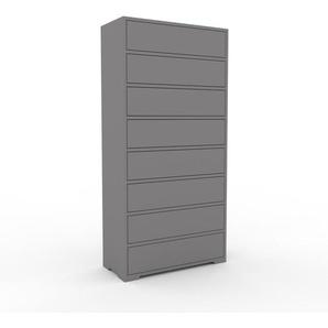 Kommode Grau - Design-Lowboard: Schubladen in Grau - Hochwertige Materialien - 77 x 158 x 35 cm, Selbst zusammenstellen