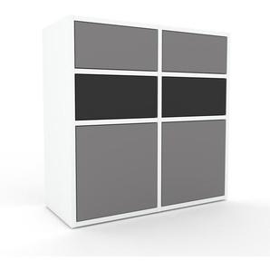 Kommode Weiß - Lowboard: Schubladen in Anthrazit & Türen in Grau - Hochwertige Materialien - 79 x 80 x 35 cm, konfigurierbar