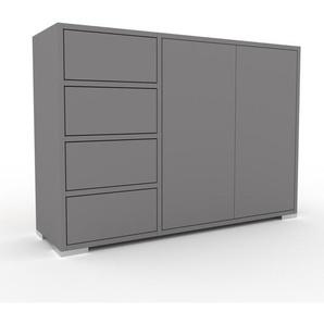 Kommode Grau - Lowboard: Schubladen in Grau & Türen in Grau - Hochwertige Materialien - 116 x 81 x 35 cm, konfigurierbar