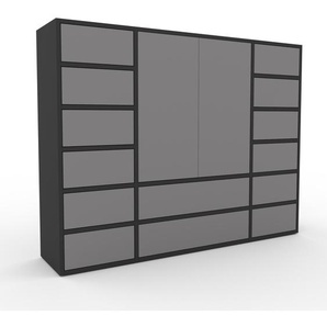 Kommode Anthrazit - Lowboard: Schubladen in Grau & Türen in Grau - Hochwertige Materialien - 154 x 118 x 35 cm, konfigurierbar