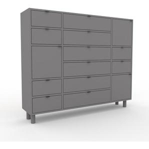 Kommode Grau - Lowboard: Schubladen in Grau & Türen in Grau - Hochwertige Materialien - 154 x 130 x 35 cm, konfigurierbar