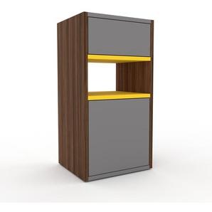 Kommode Nussbaum - Lowboard: Schubladen in Grau & Türen in Grau - Hochwertige Materialien - 41 x 80 x 35 cm, konfigurierbar