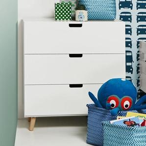 Kommode Kids Town Retro, blau, Kommode mit 3 Schubladen - Abschlussleisten Buche - BETTEN.de