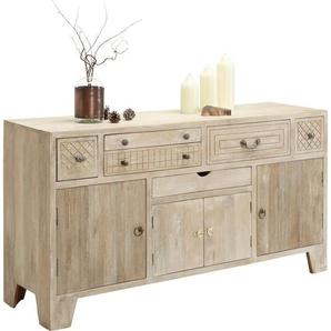 : Kommode, Holz,Mangoholz, Natur, Weiß, B/H/T 160 85 45