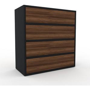 Kommode Schwarz - Design-Lowboard: Schubladen in Nussbaum - Hochwertige Materialien - 77 x 80 x 35 cm, Selbst zusammenstellen