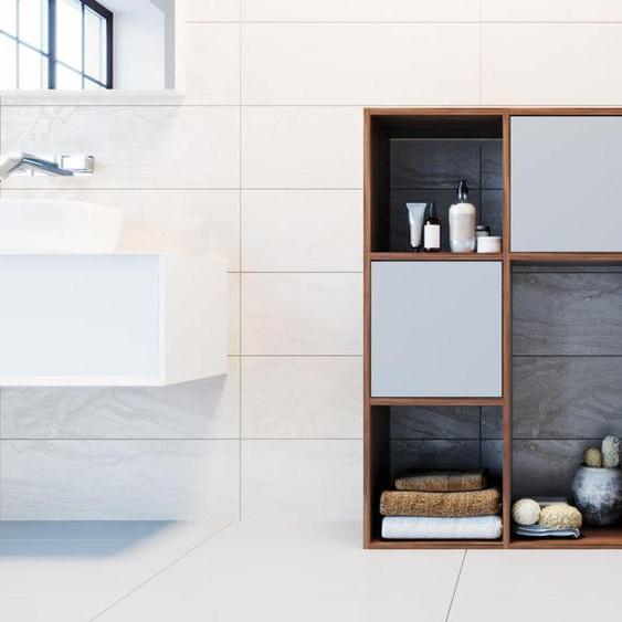 Kommode Nussbaum - Design-Lowboard: Türen in Grau - Hochwertige Materialien - 79 x 118 x 35 cm, Selbst zusammenstellen