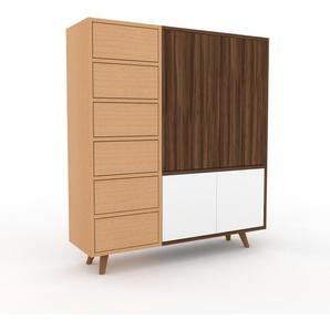 Kommode Buche - Lowboard: Schubladen in Buche & Türen in Weiß - Hochwertige Materialien - 116 x 130 x 35 cm, konfigurierbar