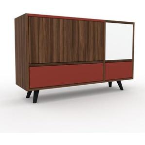 Kommode Nussbaum - Lowboard: Schubladen in Rot & Türen in Nussbaum - Hochwertige Materialien - 116 x 72 x 35 cm, konfigurierbar
