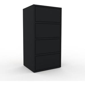 Kommode Schwarz - Design-Lowboard: Schubladen in Schwarz - Hochwertige Materialien - 41 x 80 x 35 cm, Selbst zusammenstellen