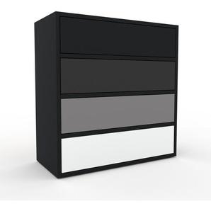 Kommode Schwarz - Design-Lowboard: Schubladen in Weiß - Hochwertige Materialien - 77 x 80 x 35 cm, Selbst zusammenstellen