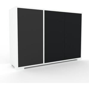Kommode Weiß - Design-Lowboard: Türen in Schwarz - Hochwertige Materialien - 116 x 81 x 35 cm, Selbst zusammenstellen