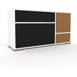 Kommode Weiß - Lowboard: Schubladen in Schwarz & Türen in Schwarz - Hochwertige Materialien - 116 x 62 x 35 cm, konfigurierbar