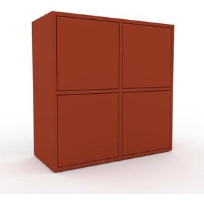 Kommode Rot - Design-Lowboard: Türen in Rot - Hochwertige Materialien - 79 x 80 x 35 cm, Selbst zusammenstellen