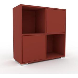 Kommode Rot - Design-Lowboard: Türen in Rot - Hochwertige Materialien - 79 x 81 x 35 cm, Selbst zusammenstellen