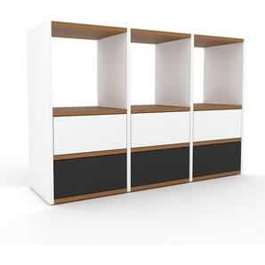 Kommode Weiß - Design-Lowboard: Schubladen in Anthrazit - Hochwertige Materialien - 118 x 80 x 35 cm, Selbst zusammenstellen