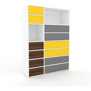 Kommode Weiß - Design-Lowboard: Schubladen in Nussbaum - Hochwertige Materialien - 116 x 157 x 35 cm, Selbst zusammenstellen