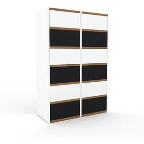 Kommode Weiß - Design-Lowboard: Schubladen in Schwarz - Hochwertige Materialien - 79 x 118 x 35 cm, Selbst zusammenstellen