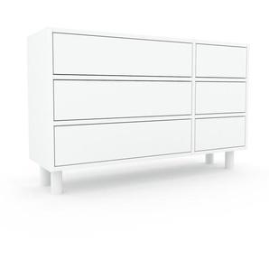 Kommode Weiß - Design-Lowboard: Schubladen in Weiß - Hochwertige Materialien - 116 x 72 x 35 cm, Selbst zusammenstellen