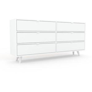 Kommode Weiß - Design-Lowboard: Schubladen in Weiß - Hochwertige Materialien - 152 x 72 x 35 cm, Selbst zusammenstellen