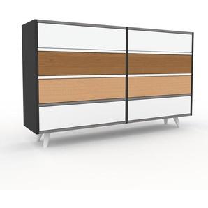 Kommode Anthrazit - Design-Lowboard: Schubladen in Weiß - Hochwertige Materialien - 152 x 91 x 35 cm, Selbst zusammenstellen