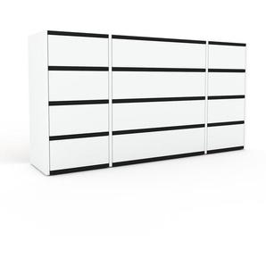 Kommode Weiß - Design-Lowboard: Schubladen in Weiß - Hochwertige Materialien - 154 x 80 x 35 cm, Selbst zusammenstellen