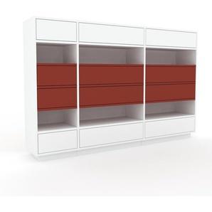 Kommode Weiß - Design-Lowboard: Schubladen in Weiß - Hochwertige Materialien - 190 x 124 x 35 cm, Selbst zusammenstellen