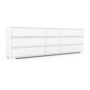 Kommode Weiß - Design-Lowboard: Schubladen in Weiß - Hochwertige Materialien - 190 x 62 x 35 cm, Selbst zusammenstellen