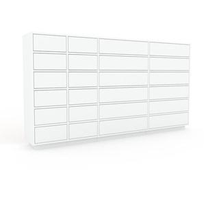 Kommode Weiß - Design-Lowboard: Schubladen in Weiß - Hochwertige Materialien - 229 x 124 x 35 cm, Selbst zusammenstellen