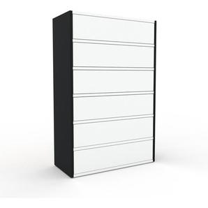 Kommode Schwarz - Design-Lowboard: Schubladen in Weiß - Hochwertige Materialien - 77 x 118 x 35 cm, Selbst zusammenstellen