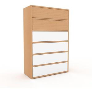 Kommode Buche - Design-Lowboard: Schubladen in Weiß - Hochwertige Materialien - 77 x 118 x 35 cm, Selbst zusammenstellen