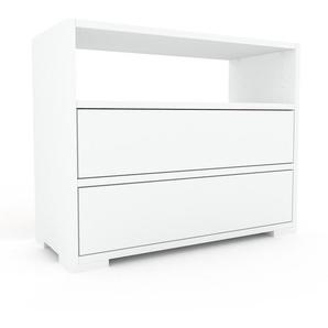 Kommode Weiß - Design-Lowboard: Schubladen in Weiß - Hochwertige Materialien - 77 x 62 x 35 cm, Selbst zusammenstellen