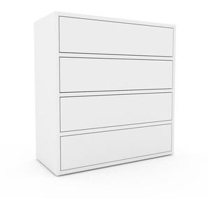 Kommode Weiß - Design-Lowboard: Schubladen in Weiß - Hochwertige Materialien - 77 x 80 x 35 cm, Selbst zusammenstellen