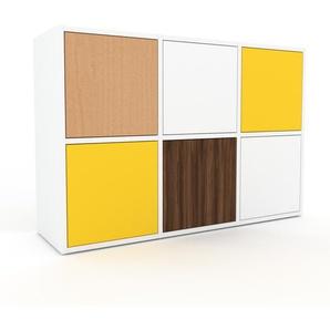 Kommode Weiß - Design-Lowboard: Türen in Gelb - Hochwertige Materialien - 118 x 80 x 35 cm, Selbst zusammenstellen