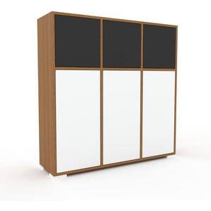 Kommode Eiche - Design-Lowboard: Türen in Weiß - Hochwertige Materialien - 118 x 120 x 35 cm, Selbst zusammenstellen