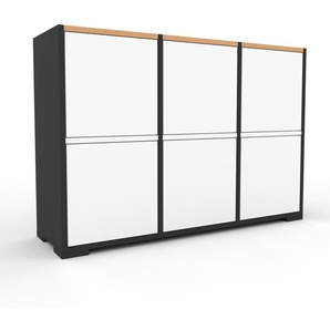 Kommode Anthrazit - Design-Lowboard: Türen in Weiß - Hochwertige Materialien - 118 x 81 x 35 cm, Selbst zusammenstellen