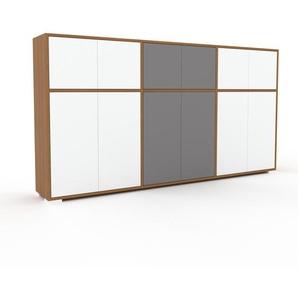 Kommode Eiche - Design-Lowboard: Türen in Weiß - Hochwertige Materialien - 226 x 120 x 35 cm, Selbst zusammenstellen