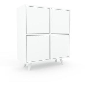 Kommode Weiß - Design-Lowboard: Türen in Weiß - Hochwertige Materialien - 79 x 91 x 35 cm, Selbst zusammenstellen