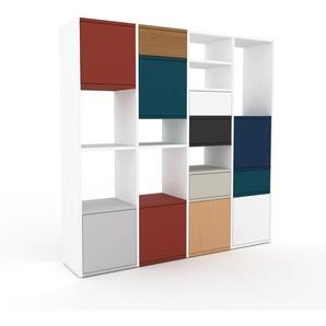Kommode Weiß - Lowboard: Schubladen in Eiche & Türen in Lichtgrau - Hochwertige Materialien - 156 x 157 x 35 cm, konfigurierbar