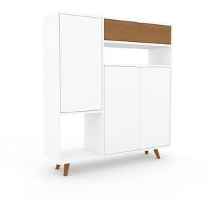 Kommode Weiß - Lowboard: Schubladen in Eiche & Türen in Weiß - Hochwertige Materialien - 116 x 130 x 35 cm, konfigurierbar