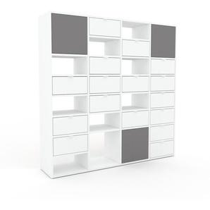 Kommode Weiß - Lowboard: Schubladen in Weiß & Türen in Grau - Hochwertige Materialien - 156 x 157 x 35 cm, konfigurierbar