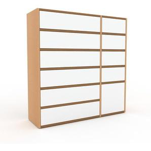 Kommode Buche - Lowboard: Schubladen in Weiß & Türen in Weiß - Hochwertige Materialien - 116 x 118 x 35 cm, konfigurierbar