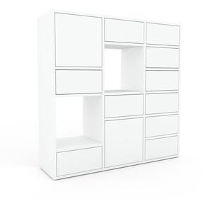 Kommode Weiß - Lowboard: Schubladen in Weiß & Türen in Weiß - Hochwertige Materialien - 118 x 118 x 35 cm, konfigurierbar