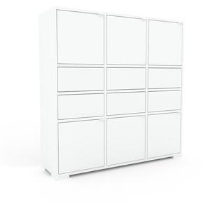 Kommode Weiß - Lowboard: Schubladen in Weiß & Türen in Weiß - Hochwertige Materialien - 118 x 120 x 35 cm, konfigurierbar