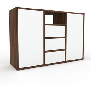 Kommode Nussbaum - Lowboard: Schubladen in Weiß & Türen in Weiß - Hochwertige Materialien - 118 x 80 x 35 cm, konfigurierbar