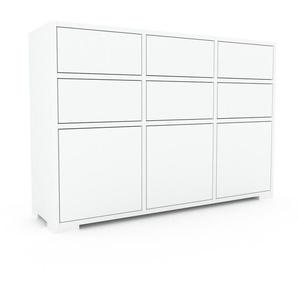 Kommode Weiß - Lowboard: Schubladen in Weiß & Türen in Weiß - Hochwertige Materialien - 118 x 81 x 35 cm, konfigurierbar
