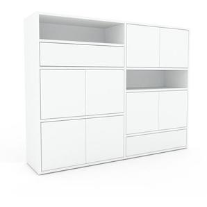 Kommode Weiß - Lowboard: Schubladen in Weiß & Türen in Weiß - Hochwertige Materialien - 152 x 118 x 35 cm, konfigurierbar