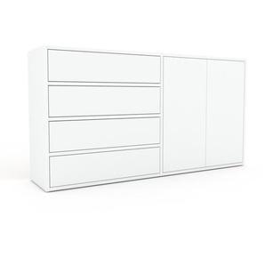 Kommode Weiß - Lowboard: Schubladen in Weiß & Türen in Weiß - Hochwertige Materialien - 152 x 80 x 35 cm, konfigurierbar