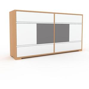Kommode Buche - Lowboard: Schubladen in Weiß & Türen in Weiß - Hochwertige Materialien - 152 x 81 x 35 cm, konfigurierbar